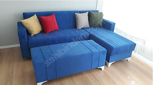 2.el köşe koltuk takımı mavi renk sıfıra yakın