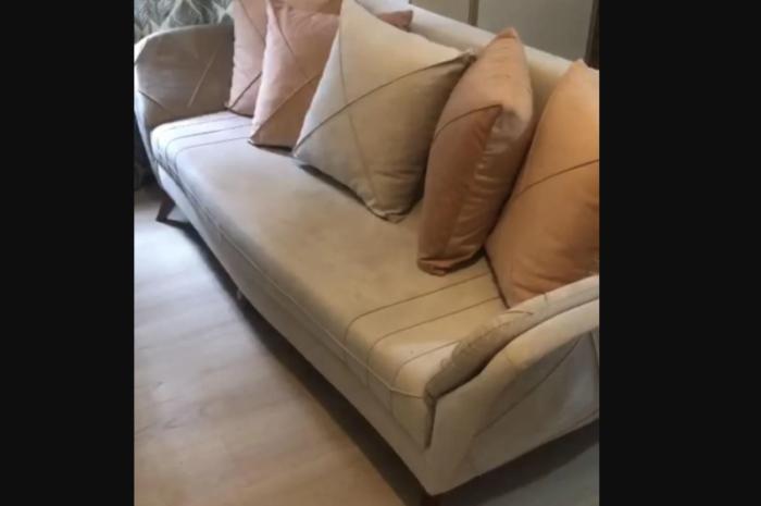 Süngeri orta sertlikte rahat yataklı kanepe çekyat (taş rengi)